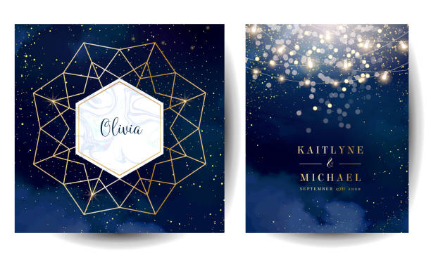 illustrazioni stock, clip art, cartoni animati e icone di tendenza di magic night dark blue cards with sparkling glitter bokeh and line art. - sfondo matrimoni