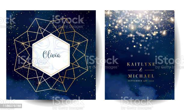 Magic Night Dark Blue Cards With Sparkling Glitter Bokeh And Line Art Stock Illustration - Download Image Now