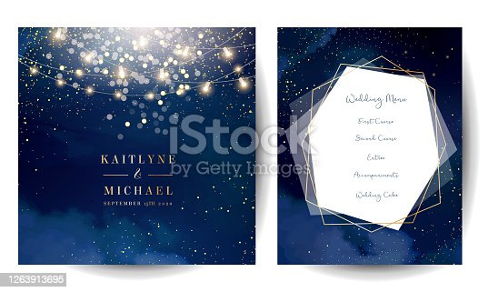 istock Magic night dark blue cards with sparkling glitter bokeh and line art 1263913695