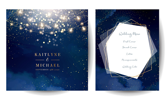 Magic night dark blue cards with sparkling glitter bokeh and line art