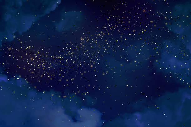Magic night dark blue sky with sparkling stars. Magic night dark blue sky with sparkling stars. Gold glitter powder splash vector background. Golden scattered dust. Midnight milky way. Christmas winter texture with clouds. twilight stock illustrations