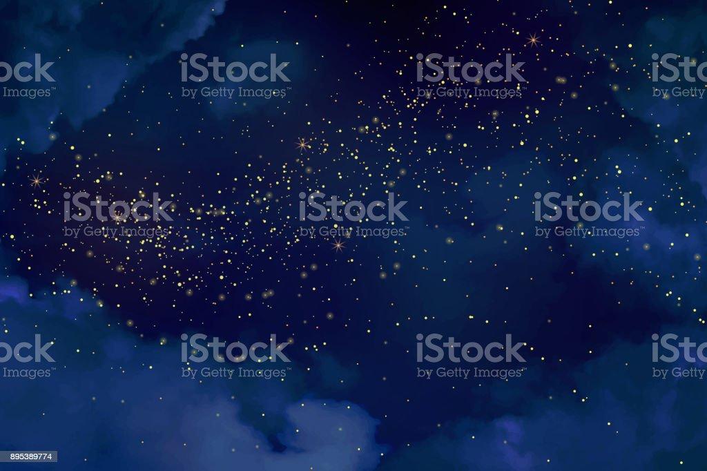 Magische Nacht dunkel blauer Himmel mit funkelnden Sternen. – Vektorgrafik