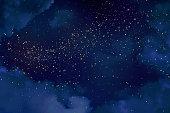 魔法の夜の輝く星と暗い青い空。