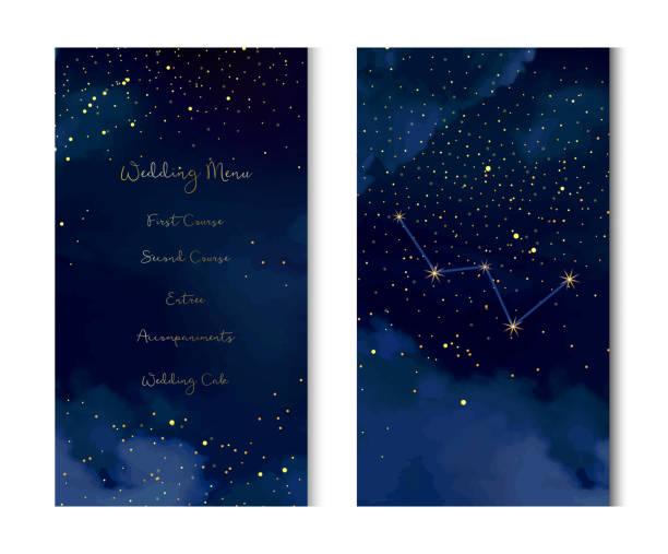 ilustrações de stock, clip art, desenhos animados e ícones de magic night dark blue sky with sparkling stars vector vertical banner. - constelação