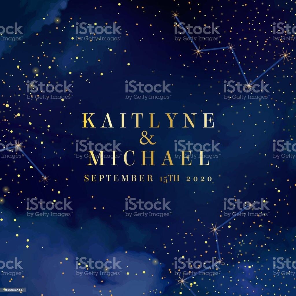 Cielo azul oscuro de la noche mágica con brillantes estrellas tarjeta de vector de la boda ilustración de cielo azul oscuro de la noche mágica con brillantes estrellas tarjeta de vector de la boda y más vectores libres de derechos de a la moda libre de derechos