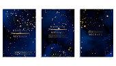 Magic night dark blue sky with sparkling stars vector wedding invitation. Andromeda galaxy. Gold glitter powder splash background. Golden scattered dust.