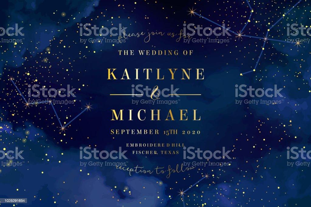 Cielo azul oscuro de la noche mágica con brillantes estrellas vector de la boda en ilustración de cielo azul oscuro de la noche mágica con brillantes estrellas vector de la boda en y más vectores libres de derechos de amor libre de derechos