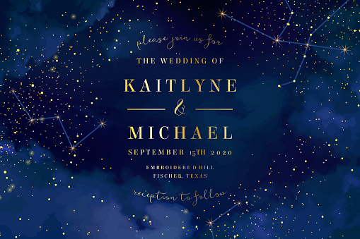 Magic night dark blue sky with sparkling stars vector wedding in clipart
