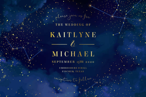 Magic night dark blue sky with sparkling stars vector wedding in Magic night dark blue sky with sparkling stars vector wedding invitation. Andromeda galaxy. Gold glitter powder splash background. Golden scattered dust. Midnight milky way. Fairytale magic card. blue sky stock illustrations