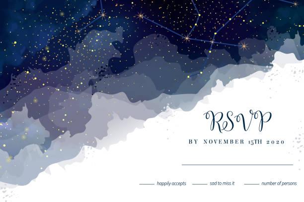 ilustrações de stock, clip art, desenhos animados e ícones de magic night dark blue sky with sparkling stars vector wedding rsvp card. - constelação