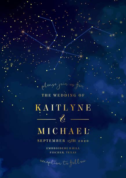 illustrations, cliparts, dessins animés et icônes de ciel bleu nuit magique avec mousseux étoiles vecteur invitation de mariage - sky