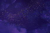 Magic night ultraviolet sky with sparkling stars. Gold glitter powder splash vector background. Golden scattered stardust. Midnight milky way. Purple trendy texture with clouds and shimmer.