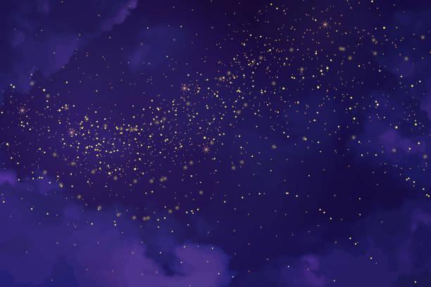 마법의 자외선 밤하늘 빛나는 별 - 보라색 stock illustrations