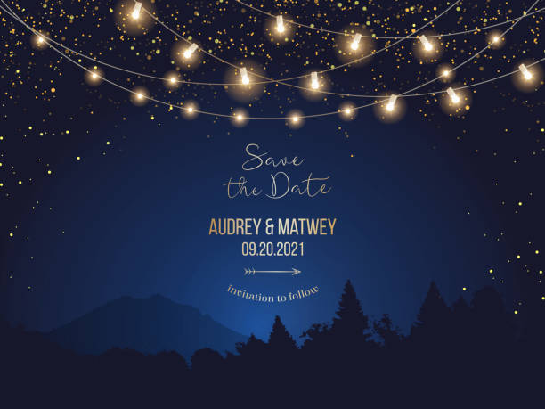 Magic night wedding lights vector design invitation Magic night wedding lights vector design invitation. Party hanging lamp garlands. Landscape blue background. Gold stars and glow. Golden scattered dust. Midnight fairytale card.Isolated and editable holiday lights stock illustrations