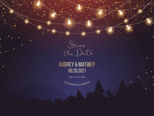 magic night wedding lights vector design invitation - ночь stock illustrations