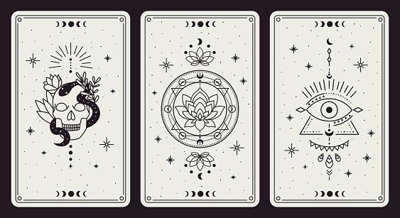 Magic occult cards. Vintage hand drawn mystic tarot cards, skull, lotus and evil eye magical symbols, magic occult cards vector illustration set