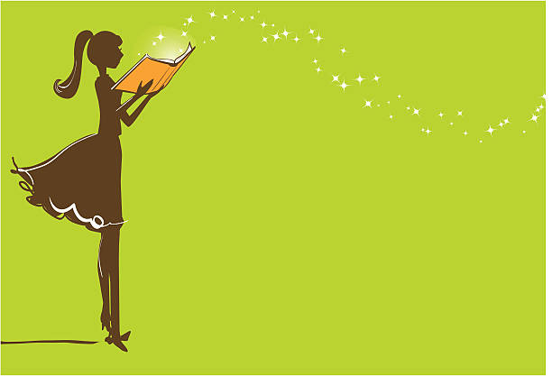 Magic of Reading A girl reading a magical book book club stock illustrations