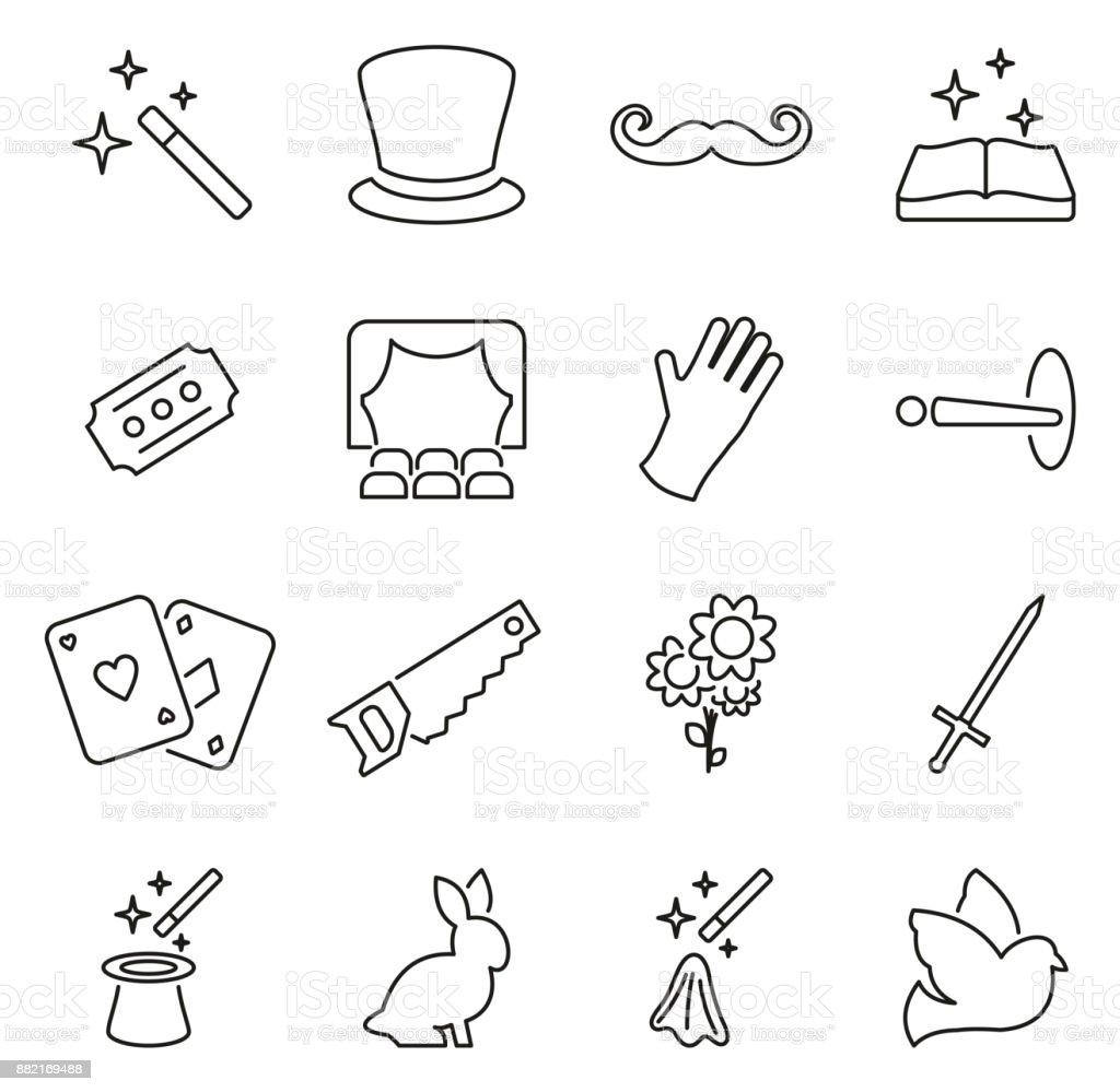 Magic or Magician or Illusionist Icons Thin Line Vector Illustration Set vector art illustration
