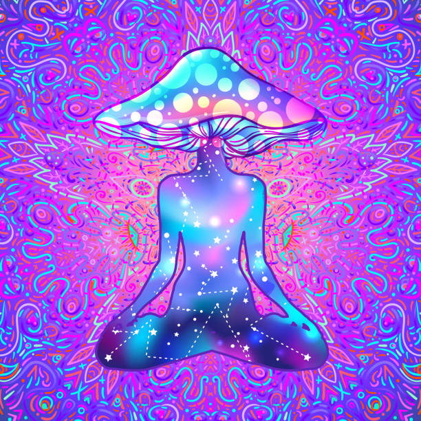 Magic person with mushroom head in yoga lotus position.  Psychedelic hallucination. Vibrant  vector illustration. Magic person with mushroom head in yoga lotus position.  Psychedelic hallucination. Vibrant  vector illustration. 60s hippie colorful art. acid stock illustrations