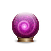 Magic pink crystal ball with spiral. vector illustration - eps 10
