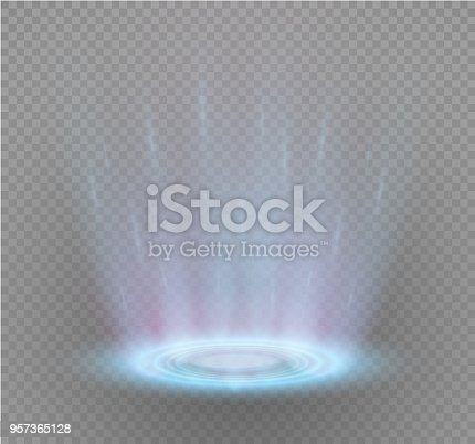 Magic portal of fantasy. Futuristic teleport. Light effect. Light rays of the night scene and sparks on a transparent background. Empty light effect of the podium. Disco club of the dance floor