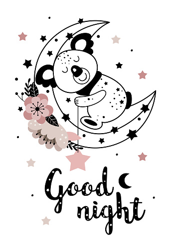 magic poster with cute koala on floral  moon