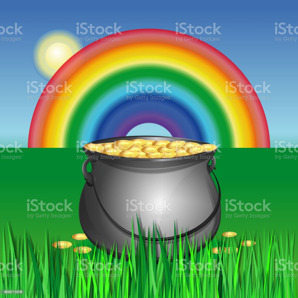 Magic Pot With Gold Coins For St Patricks Day Royalty Free