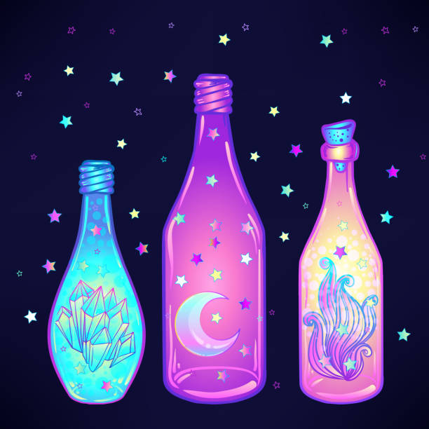 Magic potion: blue bottle jar set. Magic potion: blue bottle jar set with pink moon, crystals, heart, all seeing eye and glowing stars inside. Greeting  Card. Vector illustration isolated on white. Alchemy concept. drawing of a glass liquor flask stock illustrations