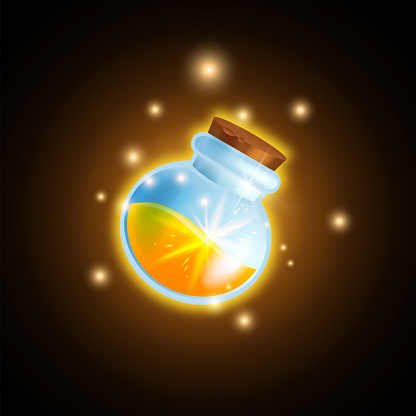 Magic potion bottle game vector icon, shiny alchemy elixir flask, UI cartoon wizard glass vial, gold drink.