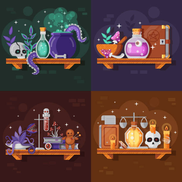 Magic Potion Bottles and Ingredients Collection vector art illustration