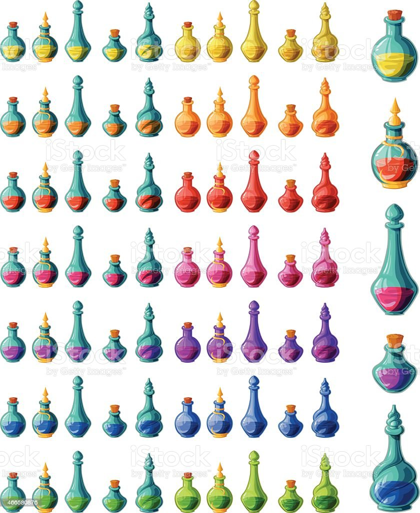 Magic potions collection vector art illustration