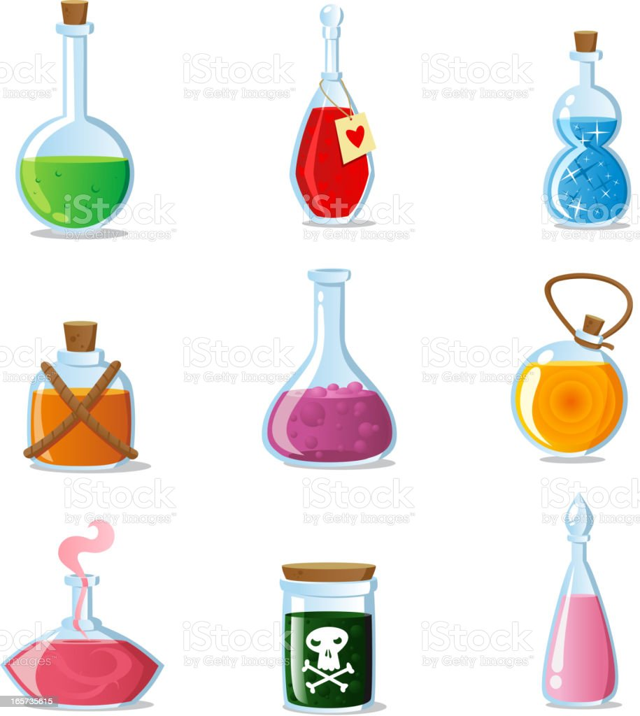 Magic potions set of magical tubes and bottles containers royalty-free stock vector art