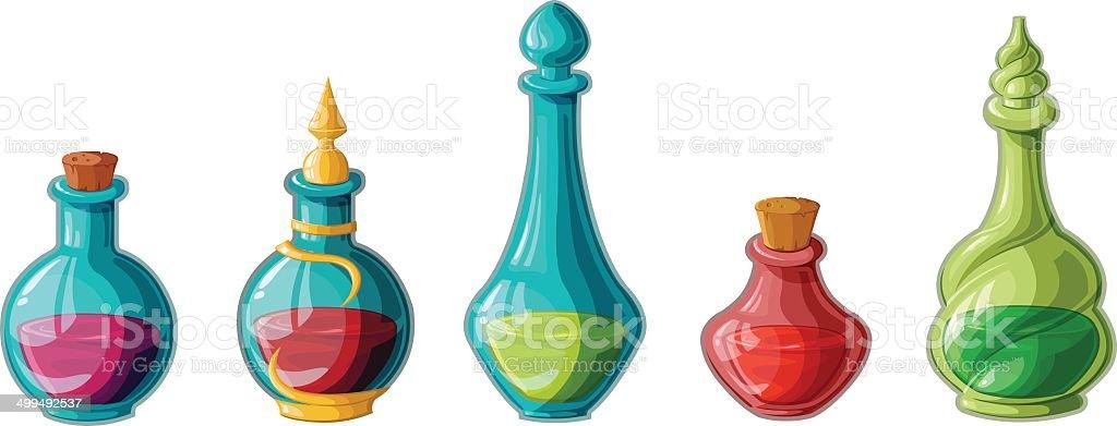 Magic potions vector art illustration