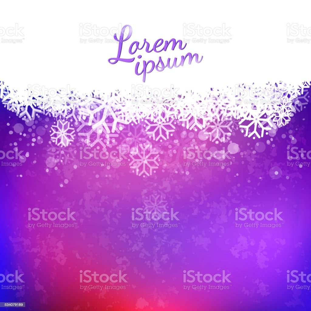 Magic purple sky background and snowflakes cloud vector art illustration