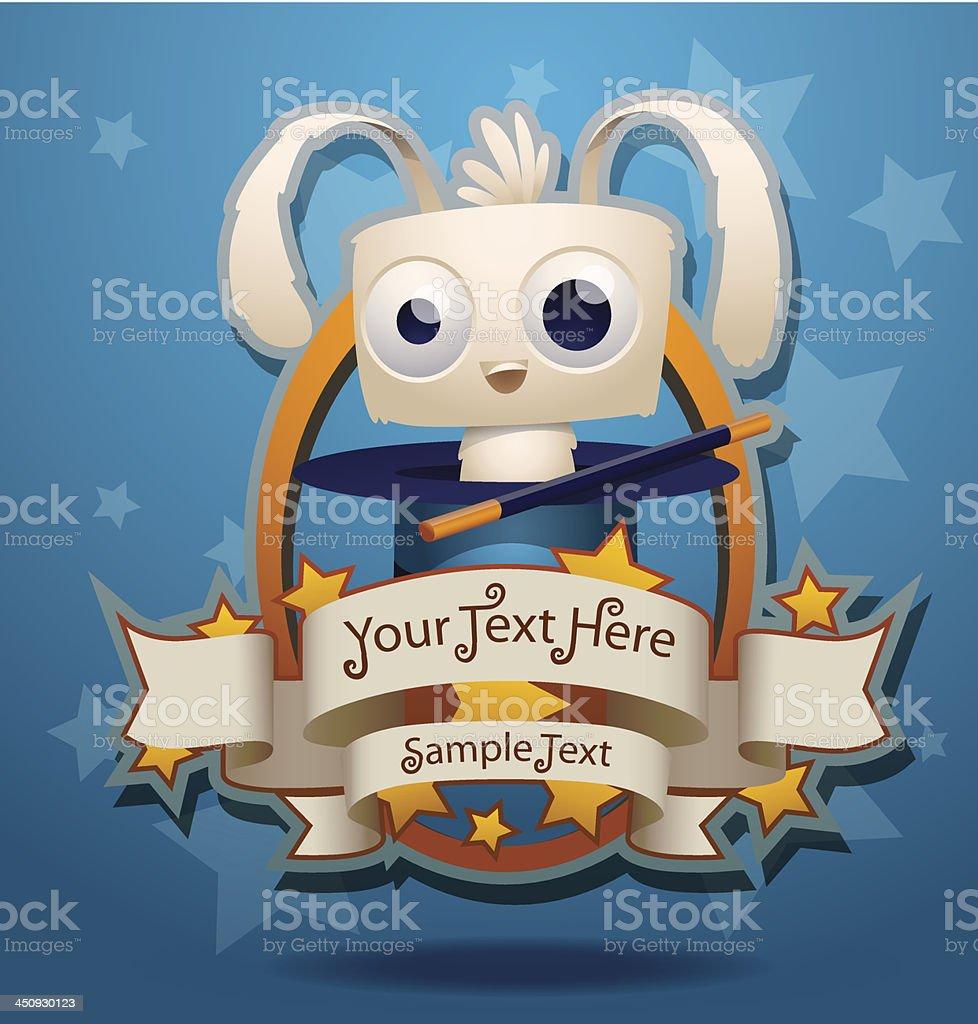 Magic rabbit sitting inside the hat banner royalty-free stock vector art
