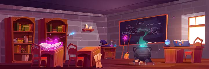 Magic school, classroom interior with wooden desks
