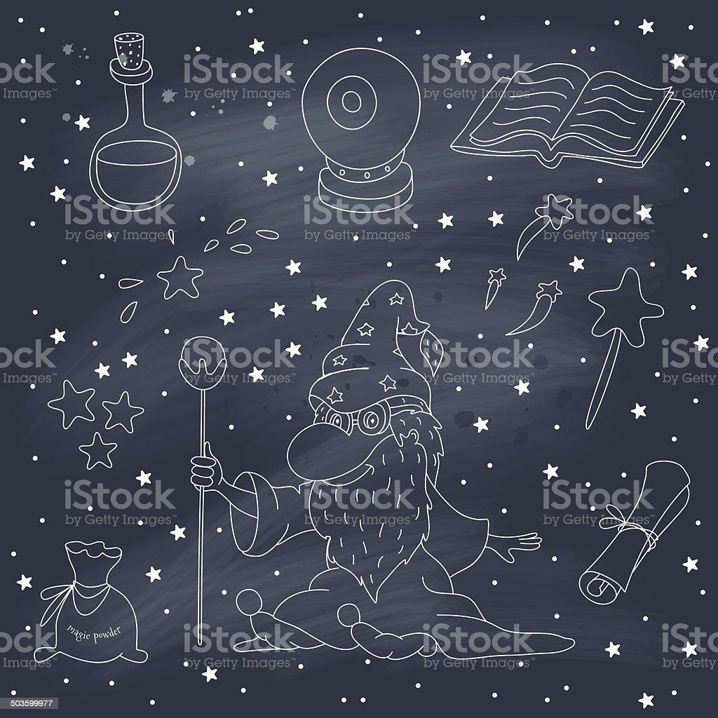Magic set on a blackboard vector art illustration