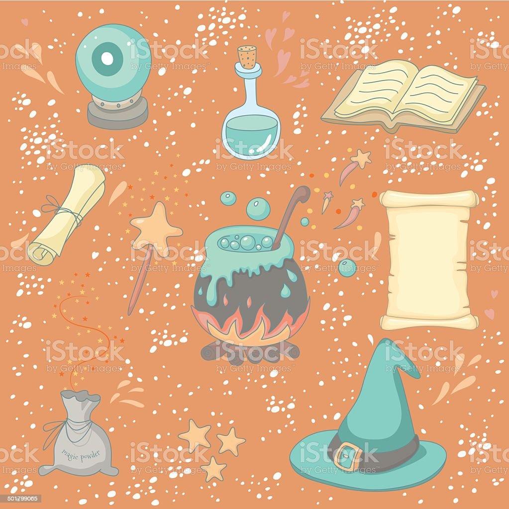 Magic set vector art illustration