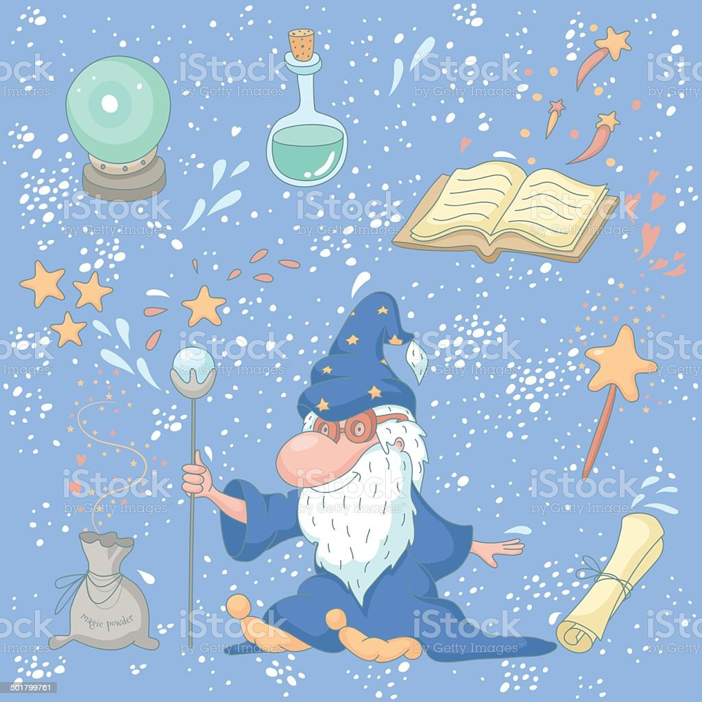 Magic set with a wizard vector art illustration