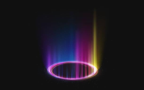 illustrazioni stock, clip art, cartoni animati e icone di tendenza di portale luminoso magico con effetto luce arcobaleno - aureola