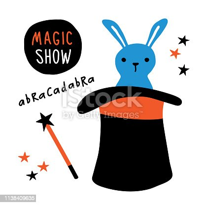 Magic show banner. Rabbit, magician equipment, top hat, magic wand, illusionist performance. Funny doodle hand drawn vector illustration. Isolated on white.