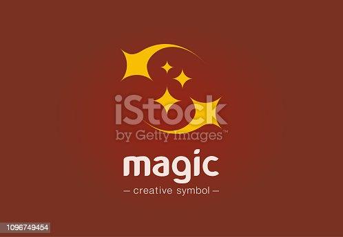 istock Magic show creative symbol concept. Sparkle star, dust, miracle, wonderwork abstract business pictogram. Illusion, sleep dream, fairytale icon 1096749454