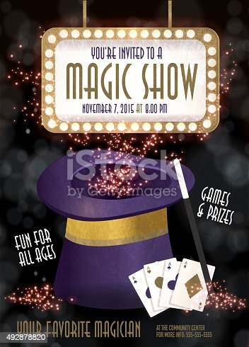 Vector illustration of a Magic Show entertainment night invitation design template. Bokeh background. Includes sample text design and light sign board, sparkles, purple magic hat with wand, fanned cards. Template flyer design for any party, birthday celebration, magician advertisement poster, kids party or adult magic show party.. Illustrator 10 eps file with high resolution jpg.