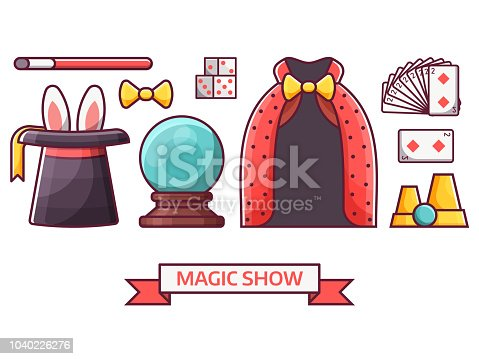 Magic show icon set in flat design. Conjurer or illusionist icon set with magician performance equipment. Such as black hat with rabbit ears, mystic ball, wand, playing cards and dice.