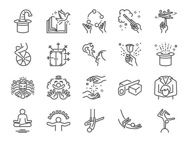 zaubershow-linie-icon-set. die symbole als einrad, zauberer, akrobatik, clown, magischen zauberstab, leistung, jonglieren, spannende durchführen und mehr enthalten. - magie stock-grafiken, -clipart, -cartoons und -symbole