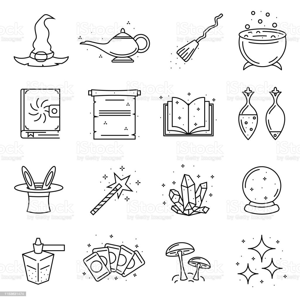 Magic Signs Black Thin Line Icon Set Vector Stock Illustration