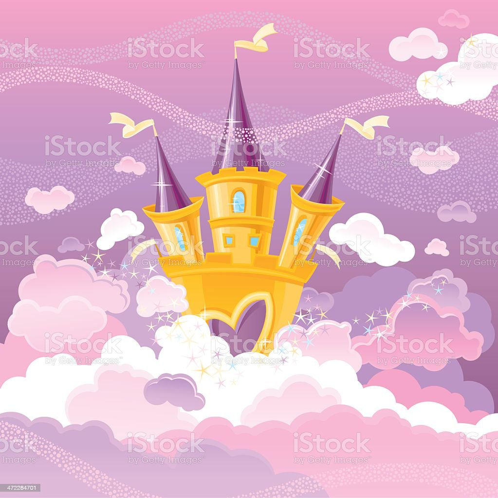 Magic Sky Castle vector art illustration