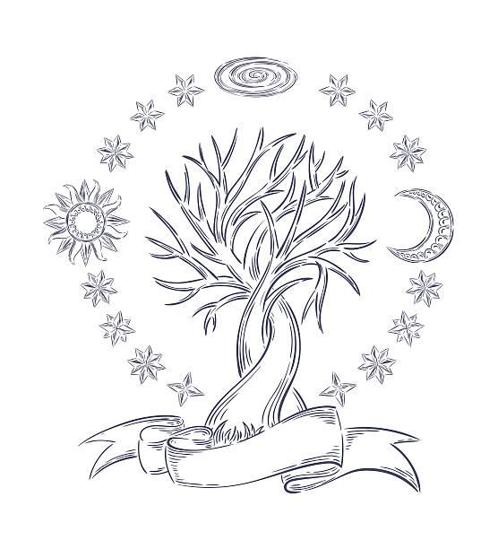 Magic sky tree vector art illustration