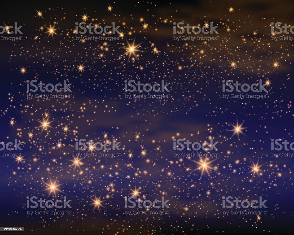 Magic Space. Fairy Dust. Infinity. Abstract Universe Background. Blue Gog and Shining Stars. Vector illustration vector art illustration