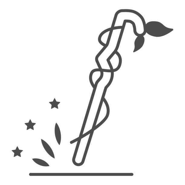 illustrations, cliparts, dessins animés et icônes de magic staff icône de ligne mince, concept d'halloween, bâton de canne avec des feuilles signe sur fond blanc, icône du personnel assistant dans le style de contour pour le concept mobile et la conception web. graphiques vectoriels. - sceptre